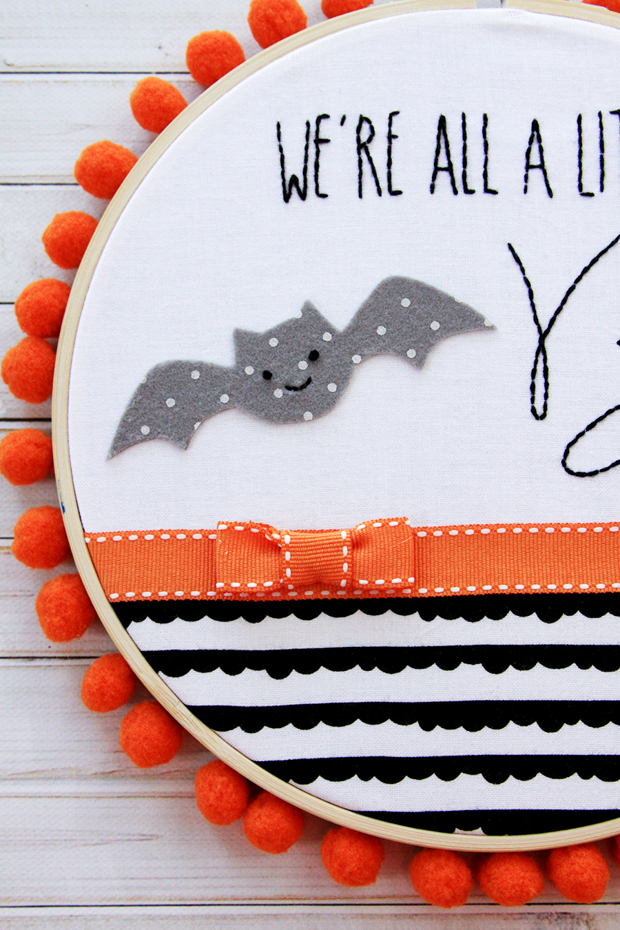 We're all a Little Batty Halloween Embroidery Hoop