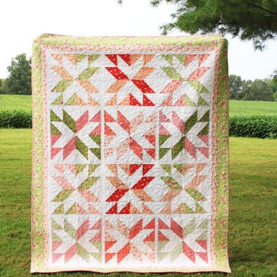 Stacking Stars Quilt Pattern in Summer Blush Fabrics