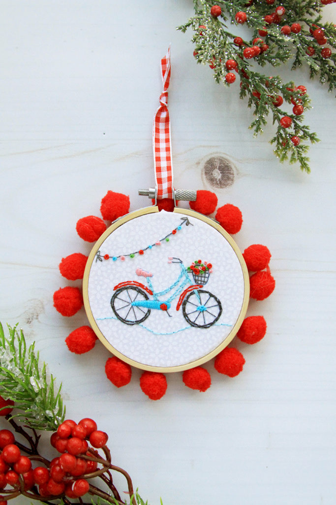 Fabulous and Fun DIY Christmas Ornaments by popular Tennessee craft blog, Flamingo Toes: image of mini bicycle hoop ornament.