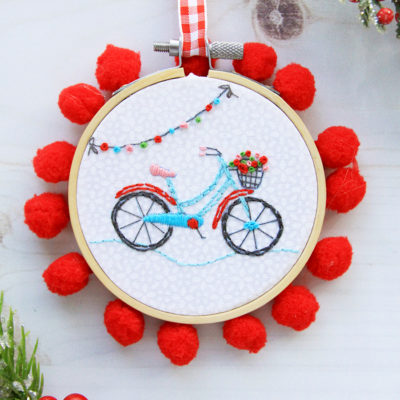 Sweet Mini Bicycle Embroidery Hoop Ornament