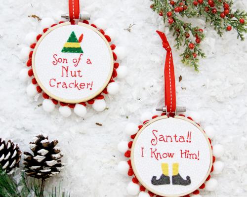 Elf Christmas Hoop Ornaments