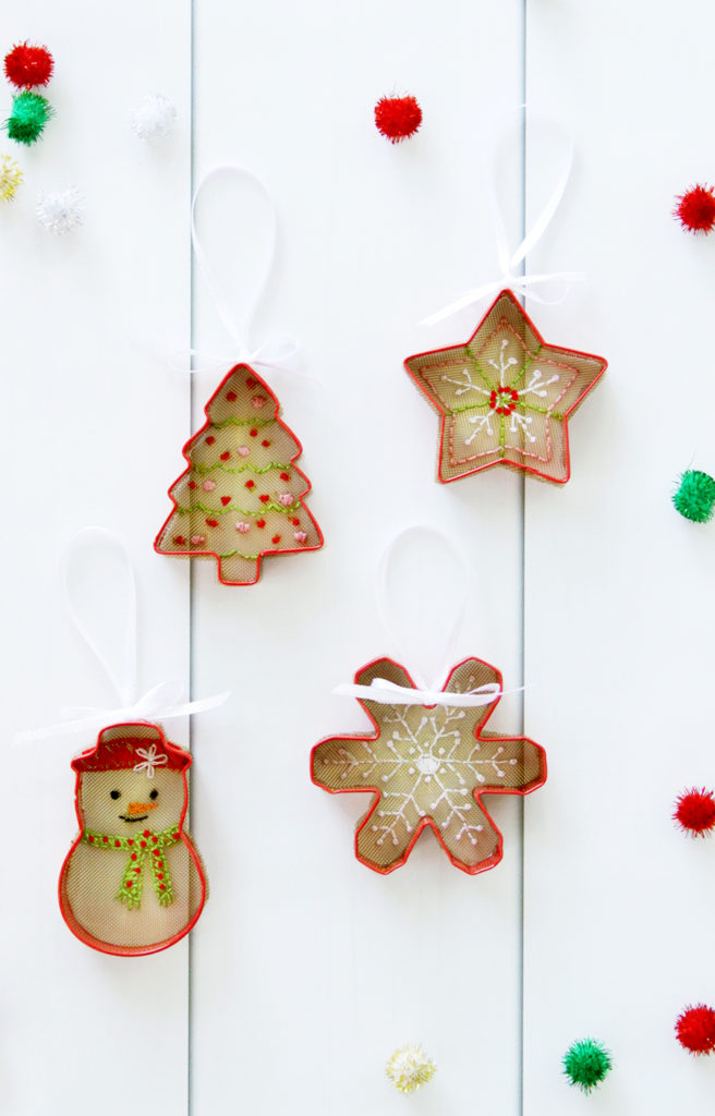 Fabulous and Fun DIY Christmas Ornaments by popular Tennessee craft blog, Flamingo Toes: image of a stitched cookie cutter ornament.