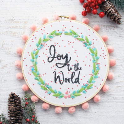 Joy to the World Christmas Embroidery Hoop