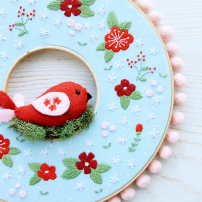 Winter Floral Embroidery Hoop Wreath