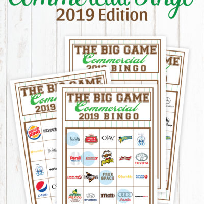2019 Big Game Commercial Bingo