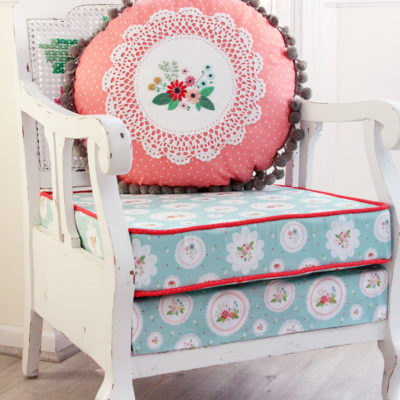Floral Vintage Embroidered Doily Pillow
