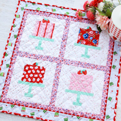 Bakery Window Mini Quilt with Shortcake Fabric