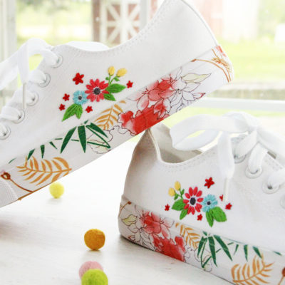 Floral DIY Embroidered Canvas Shoes