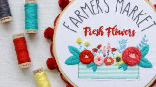 Farmers Market Fresh Flowers Embroidery Hoop Art