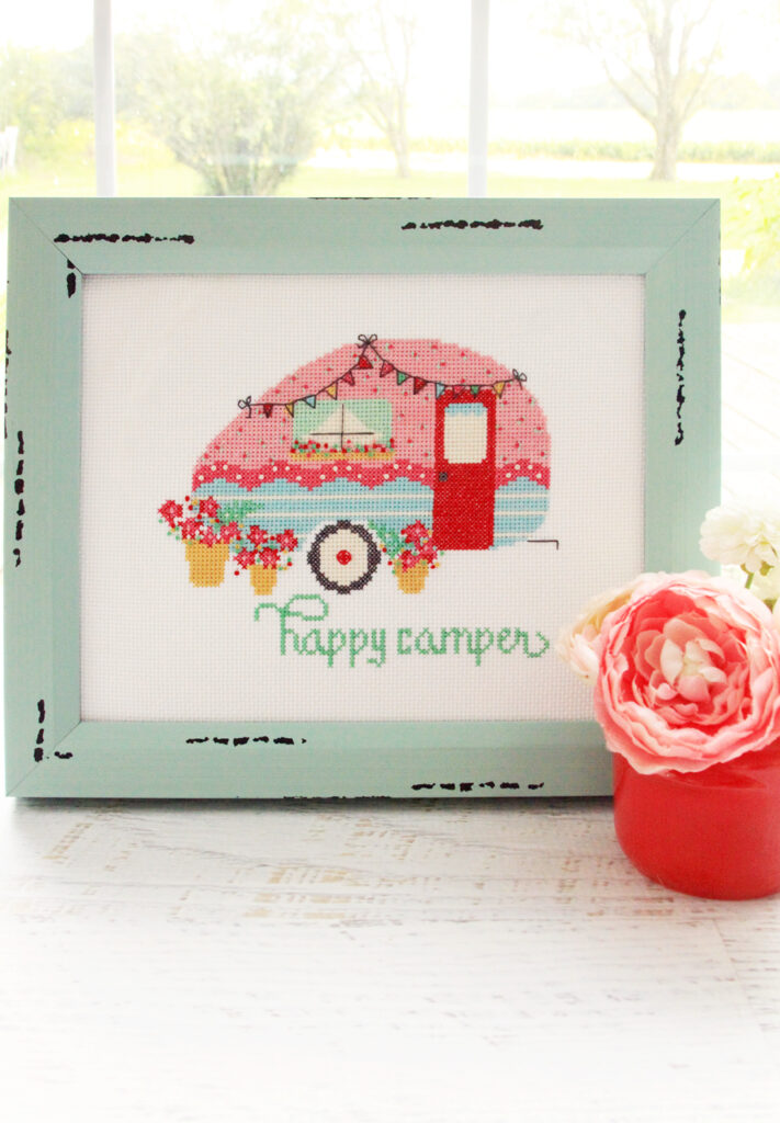 2019 Top Ten Quilting and Sewing Projects! by popular Tennessee quilting blog, Flamingo Toes: image of a camper cross stitch.
