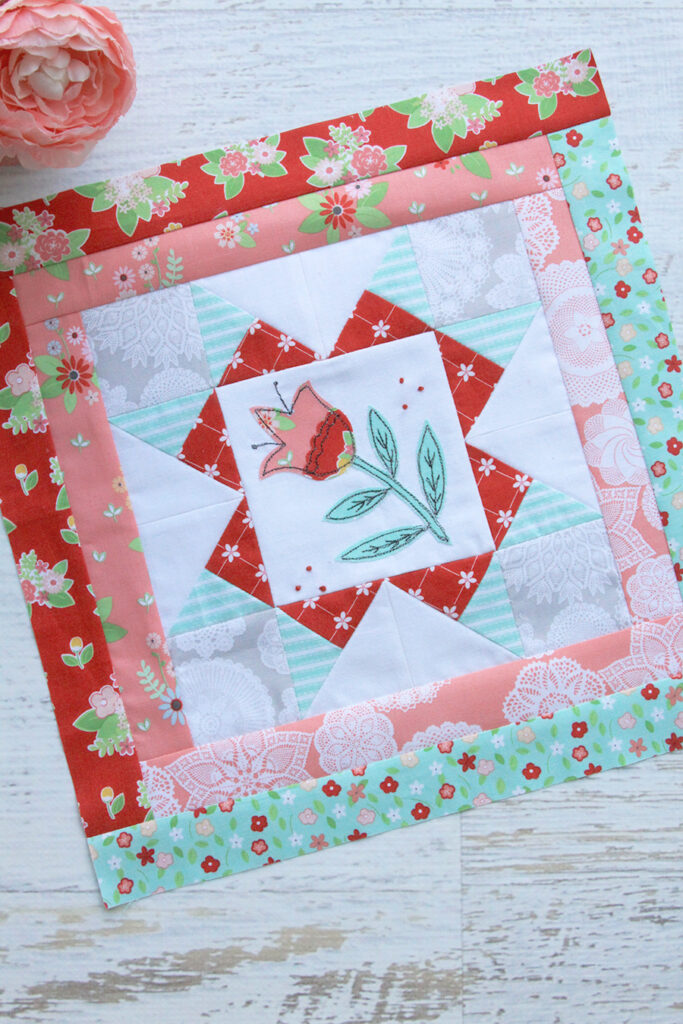 Happy Little Things Quilt Finishing by popular Tennessee quilting blog, Flamingo Toes: image of a Happy Little Things Quilt block 2.