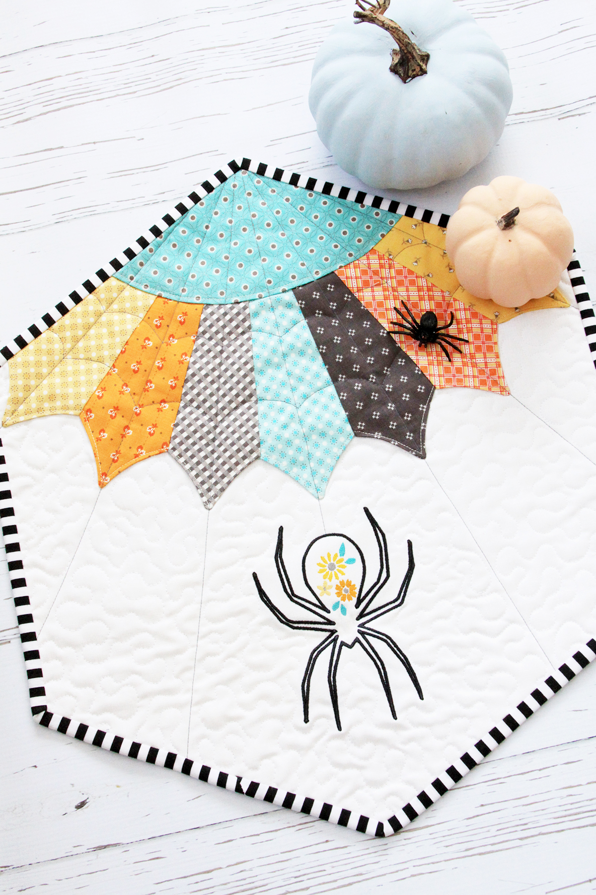 Embroidered Spider Mini Quilt
