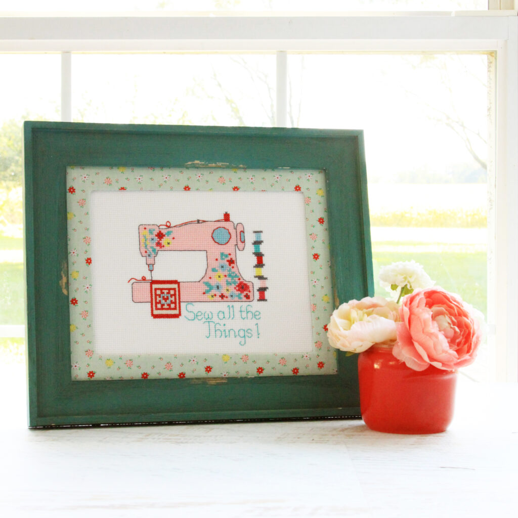 Cross Stitch Patterns and Rose Lane Fabrics featured by top US sewing blog, Flamingo Toes