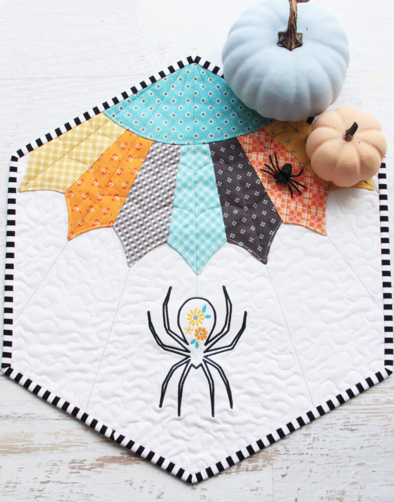 Floral Spider Web Quilt Pattern featured by top US quilting blog, Flamingo Toes.