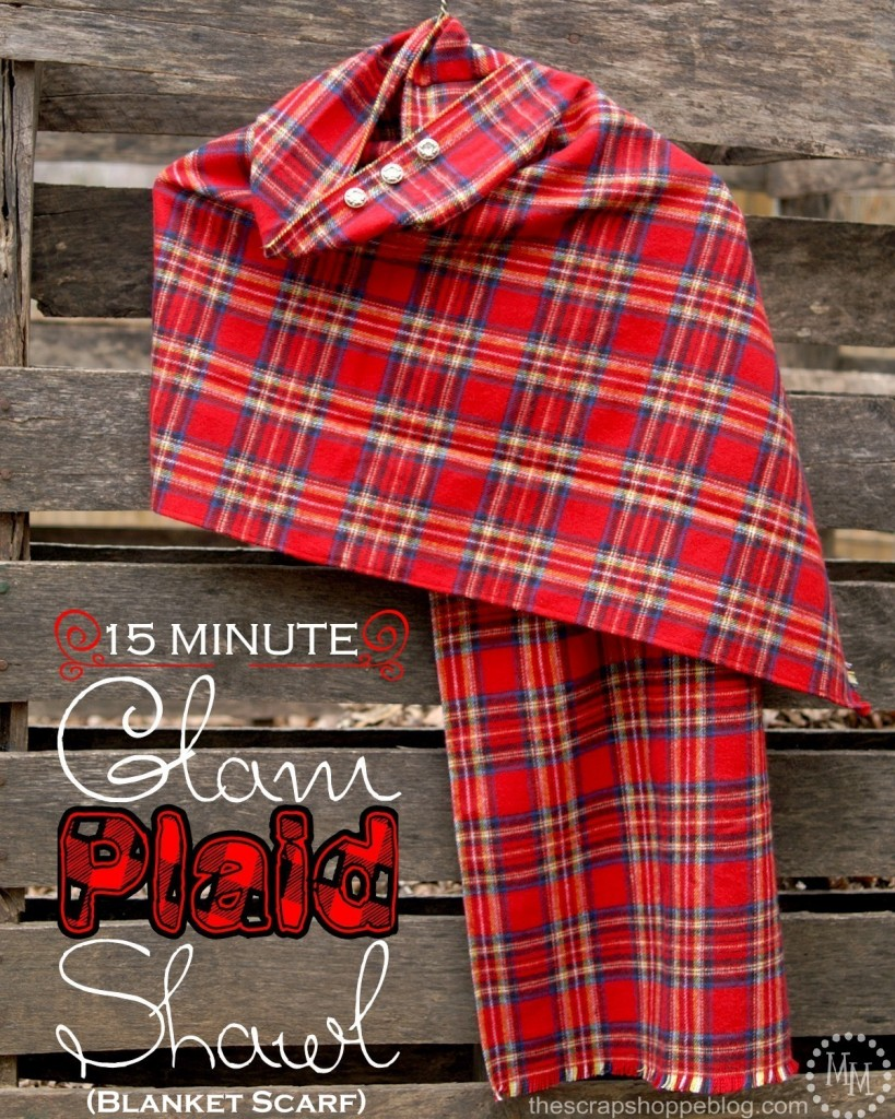 Flannel Sewing Projects featured by top US sewing blog, Flamingo Toes: flannel plaid shawl