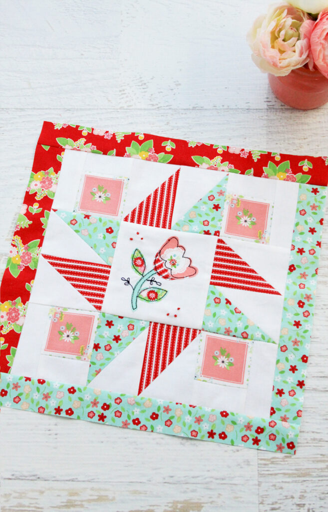 Happy Little Things Quilt Block 4 by popular quilting blog, Flamingo Toes: image of a Happy Little Things quilt block. | Happy Little Things Quilt Finishing by popular Tennessee quilting blog, Flamingo Toes: image of a Happy Little Things Quilt block 4.