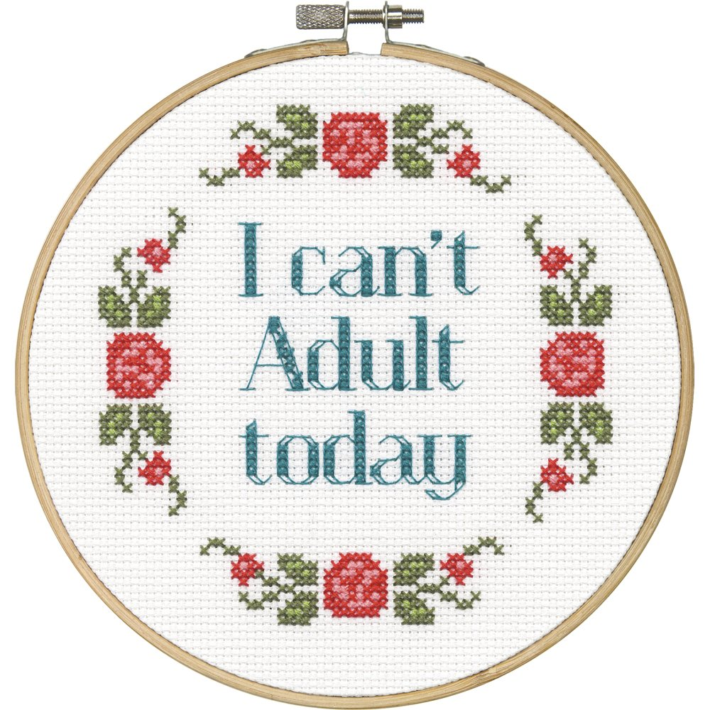 """Gift Ideas for """"Grown Ups""""! by popular Tennessee life and style blog, Flamingo Toes: image of Can't Adult Today cross stitch."""