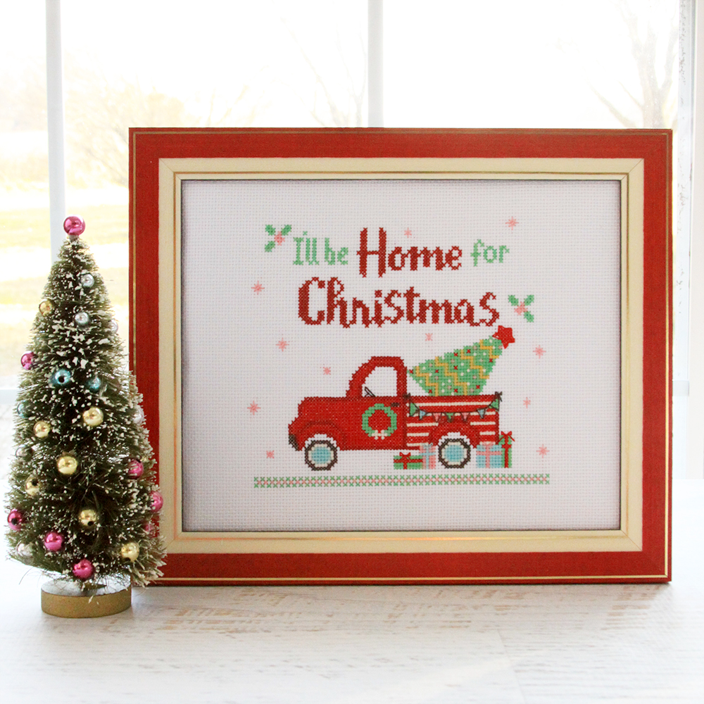 I'll Be Home for Christmas Cross Stitch Pattern by popular Tennessee quilting blog, Flamingo Toes: image of a Christmas cross stitch pattern.