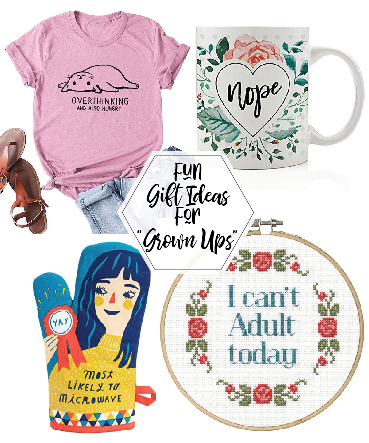 "Gift Ideas for ""Grown Ups""! by popular Tennessee life and style blog, Flamingo Toes: collage image of a graphic t-shirt, mug, sandals, cross stitch, and oven mitt."