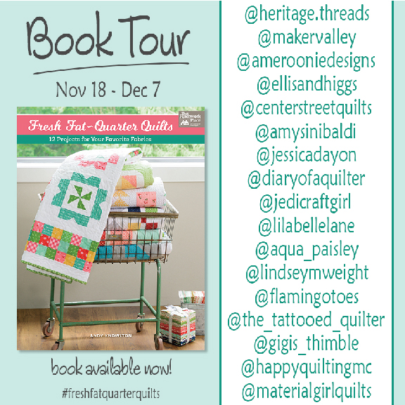 Fresh Fat Quarter Quilts Table Runner by popular Tennessee quilting blog, Flamingo Toes: graphic image of a Fresh Fat Quarter Quilts book tour schedule.