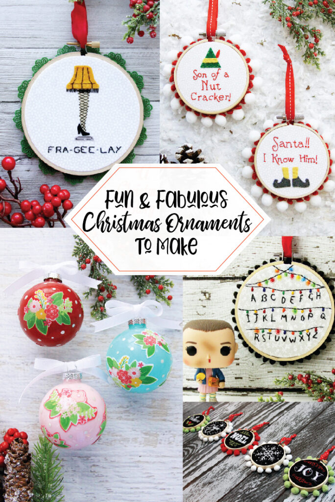 Fabulous and Fun DIY Christmas Ornaments by popular Tennessee craft blog, Flamingo Toes: collage image of DIY Christmas ornaments.
