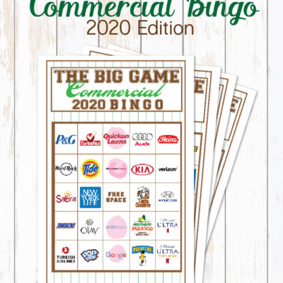 2020 Big Game Commercial Bingo