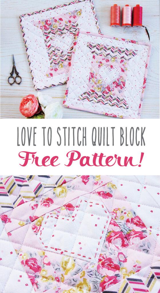 Love to Stitch Free Quilt Block Pattern