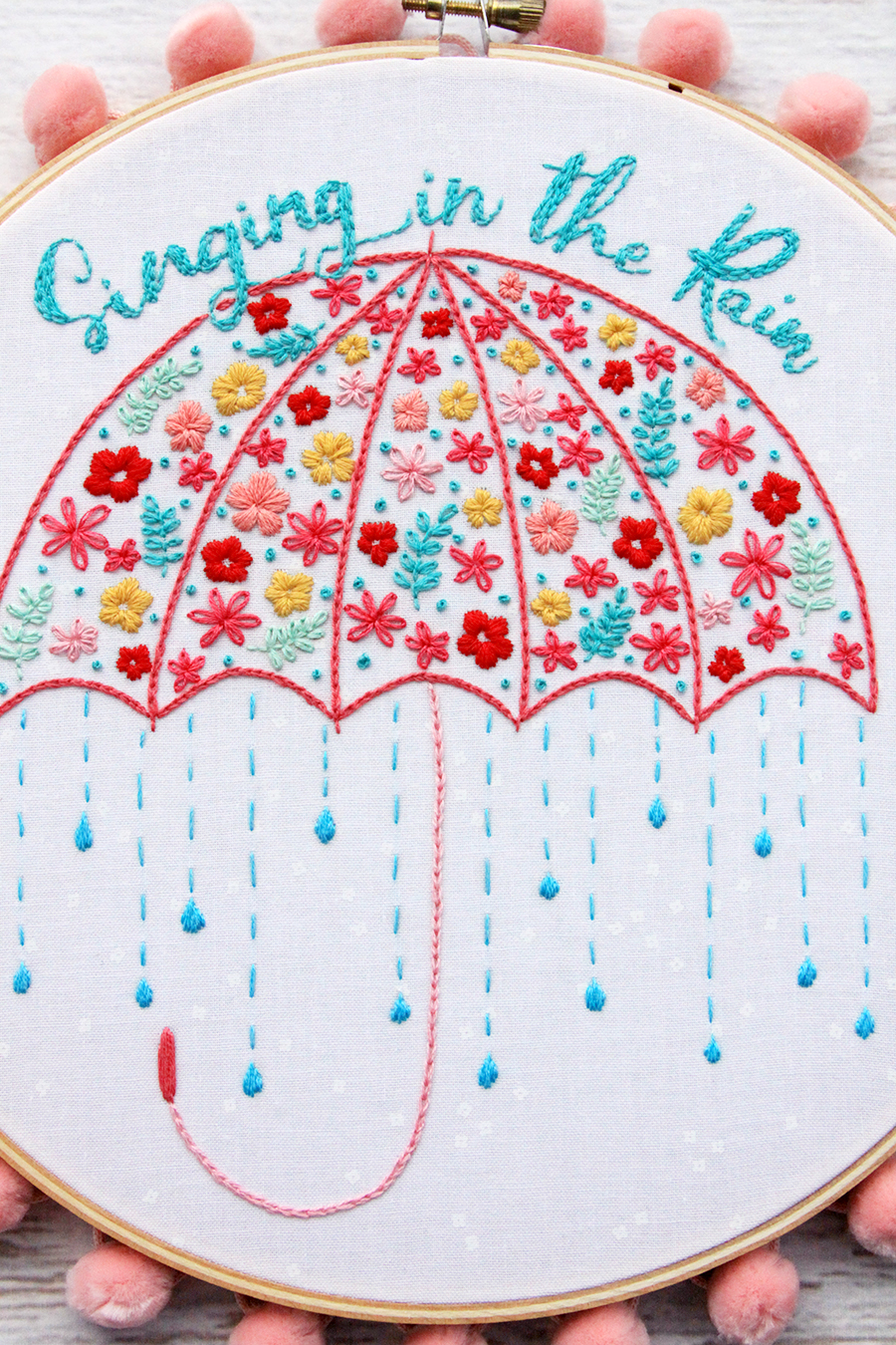 Singing in the Rain Hoop Art Pattern
