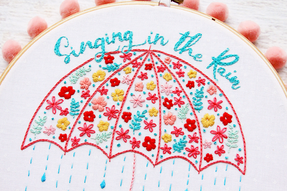 Floral Umbrella Embroidery Pattern