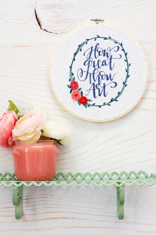 How Great Thou Art Hymn Embroidery Hoop Art