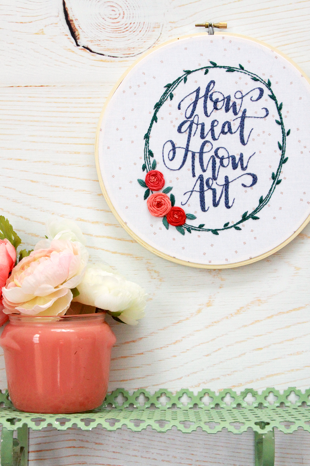 How Great Thou Art Hand Lettered Embroidery Hoop Art