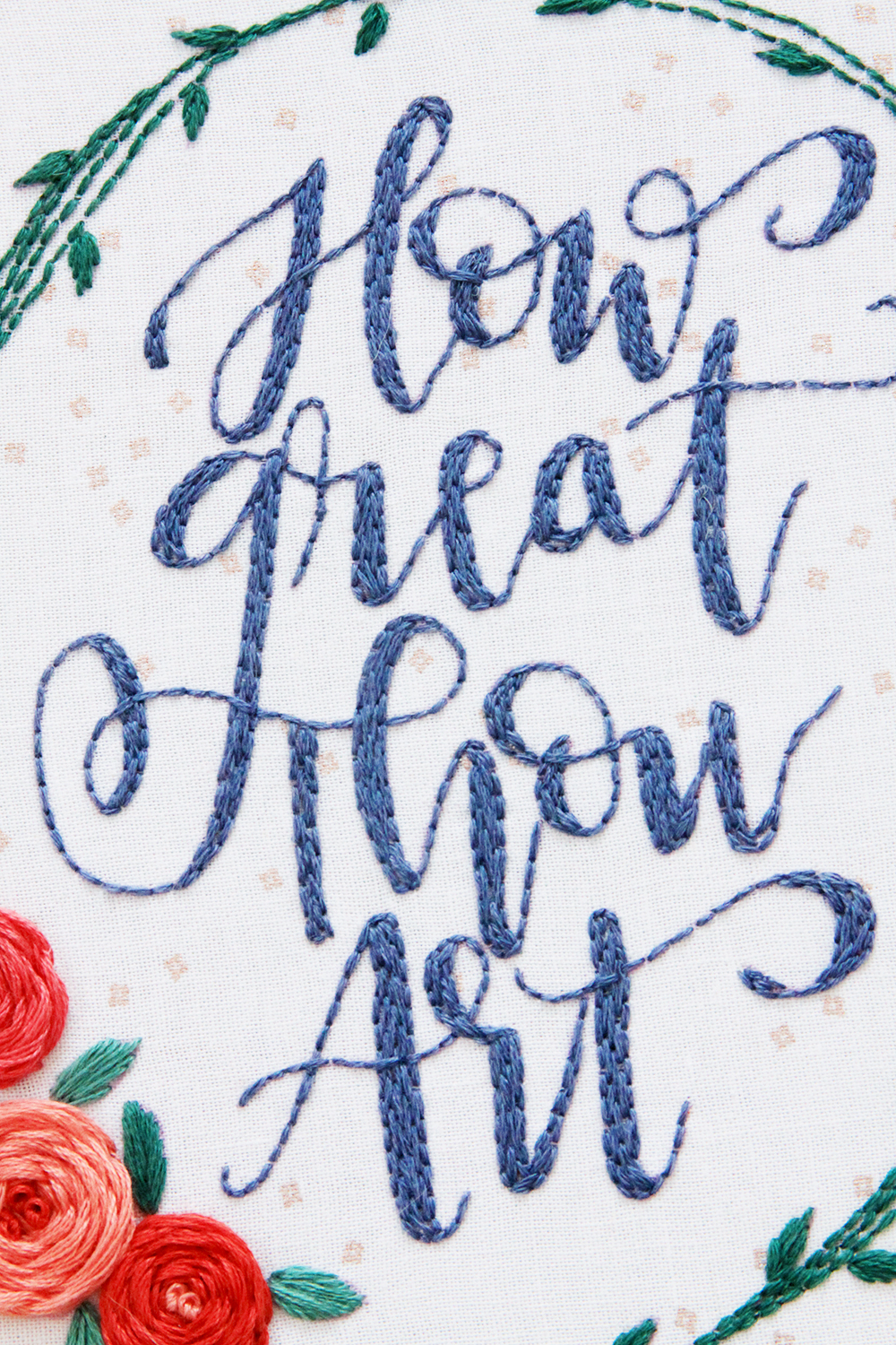Embroidered Back Stitch Lettering