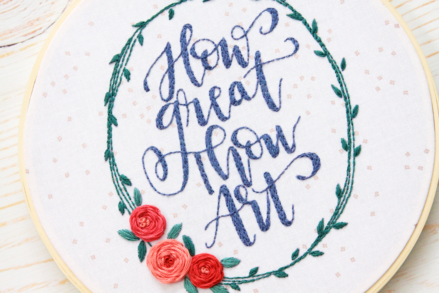 Floral Hymn Embroidery Hoop Art with Tutorial and Free Pattern