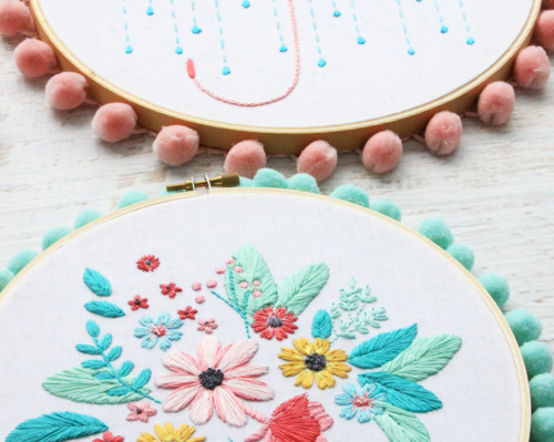 Singing in the Rain Floral Embroidery