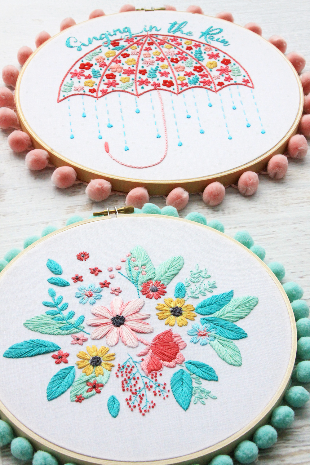 Singing in the Rain Embroidery Hoop Art