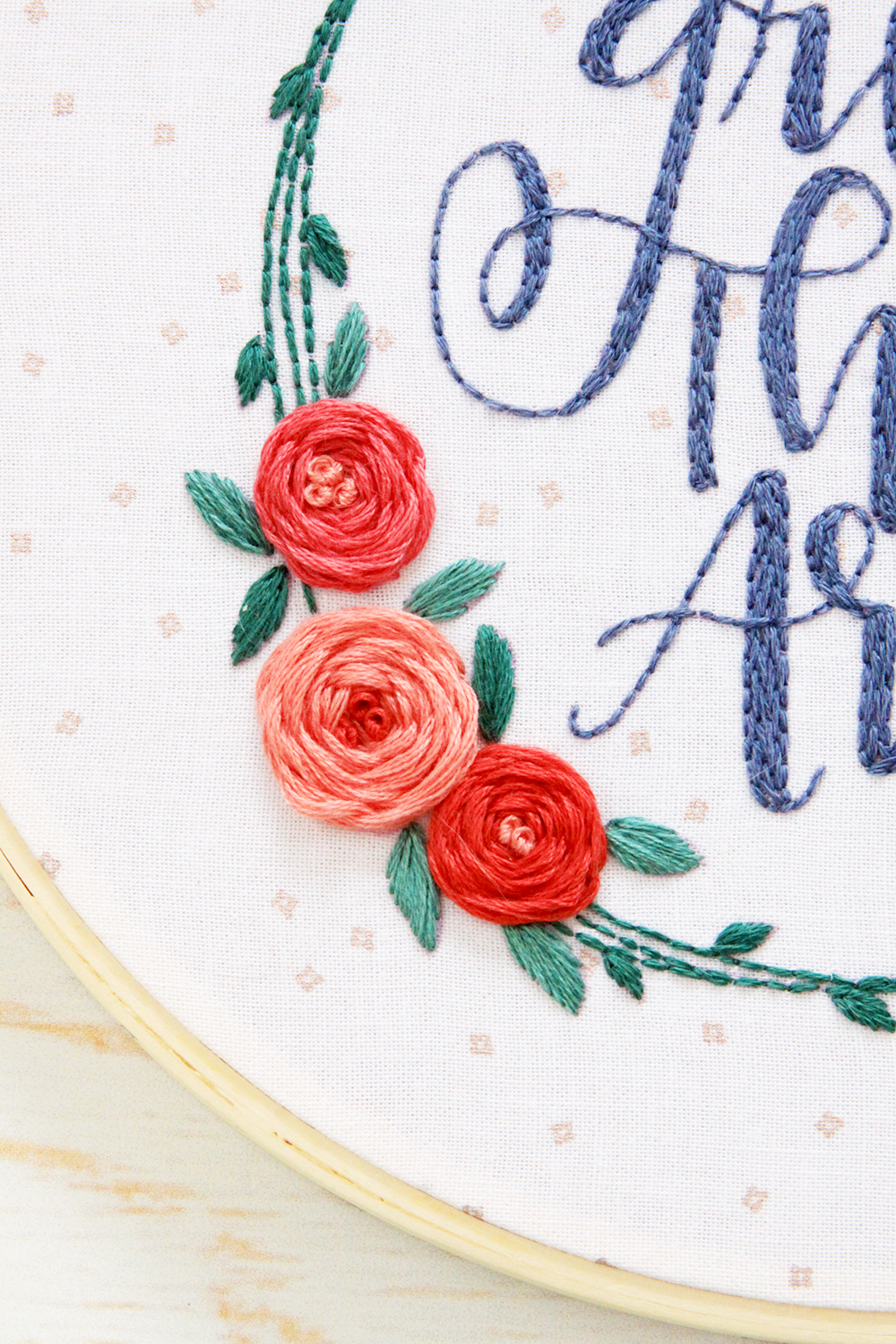 Woven Wheel Embroidered Roses