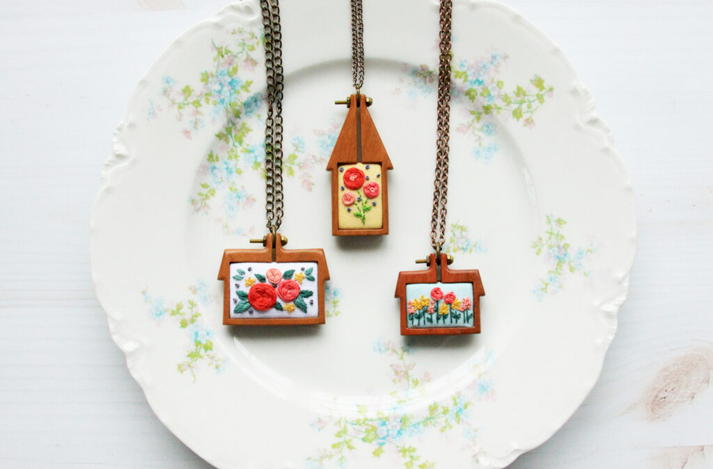 Mini Home Embroidered Hoop Necklaces