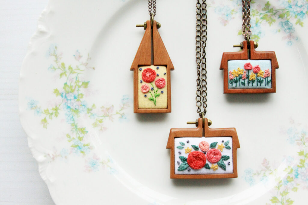 Pretty Mini Home Embroidered Hoop Necklaces