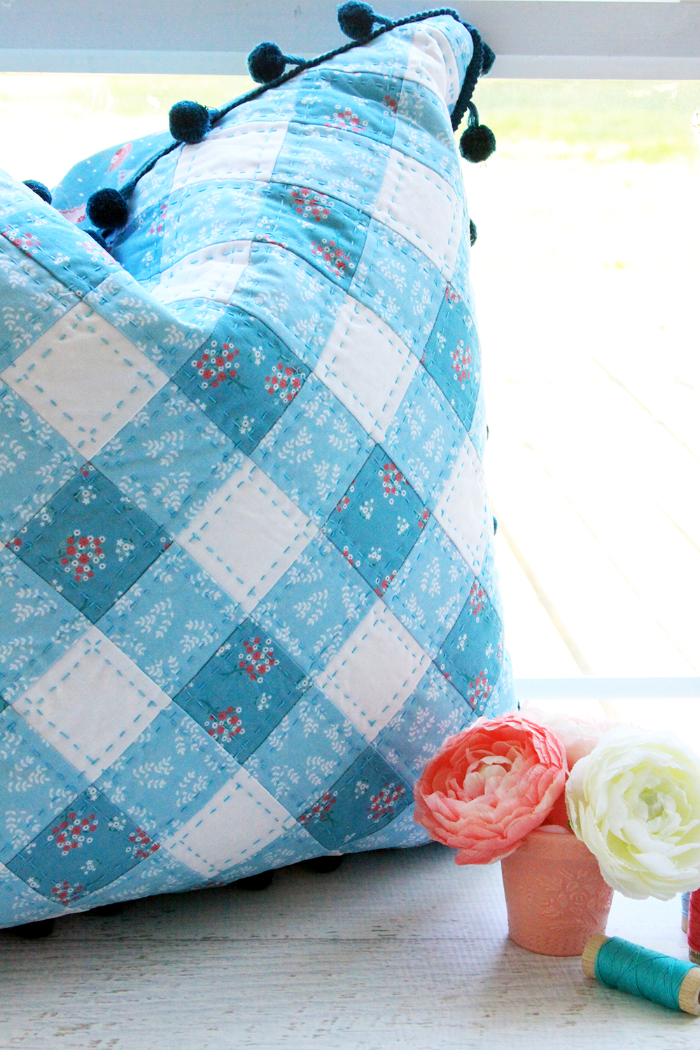 Teal Patchwork Pillow with Hand Quilting