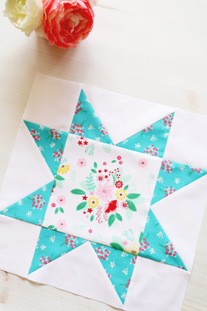 Large Star Quilt Block in Singing in the Rain Fabric