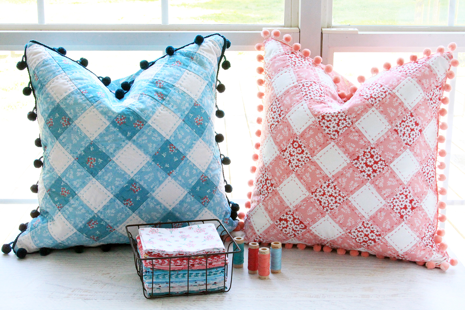Pretty Gingham Pillows in Singing in the Rain Fabrics