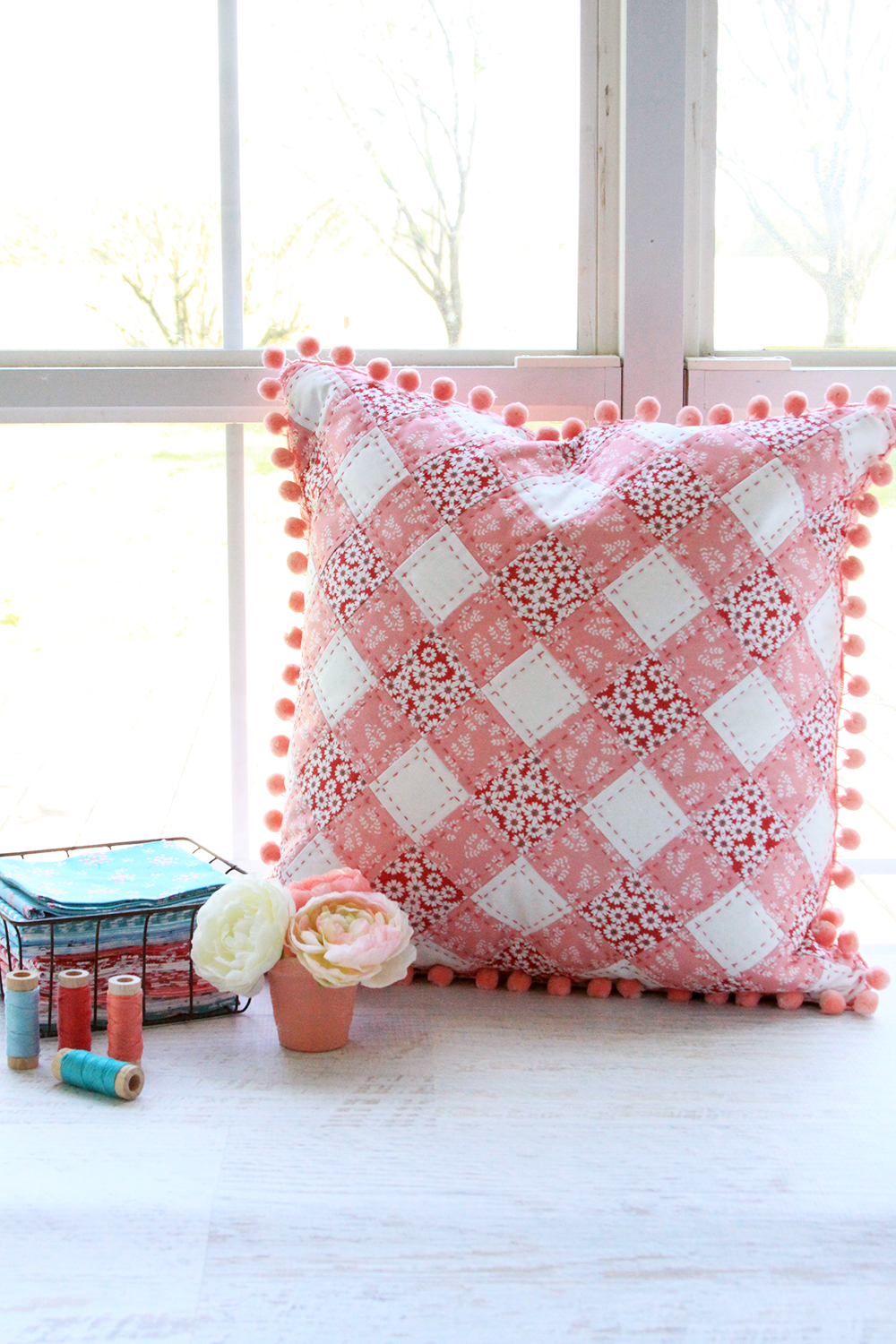 Pink Patchwork Gingham Pillow in Singing in the Rain Fabrics