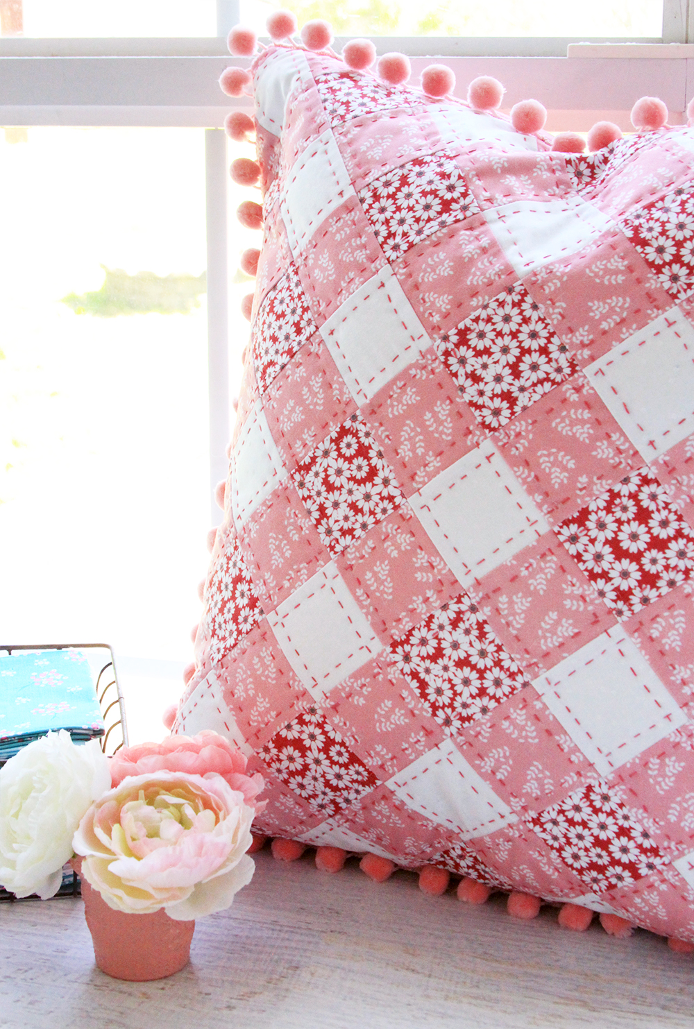 Pretty Quilted Gingham PIllow