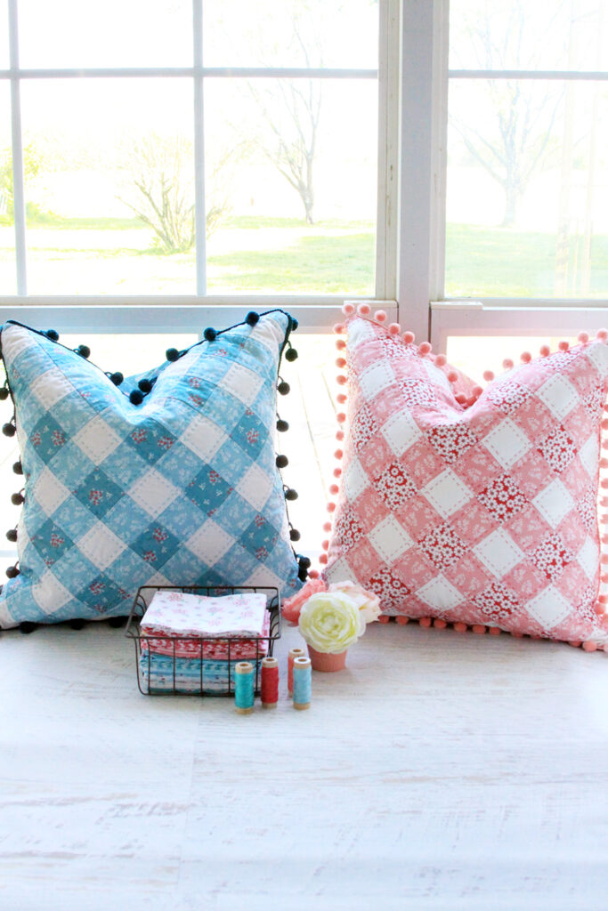 Patchwork Gingham Pillows with easy and fun free pattern