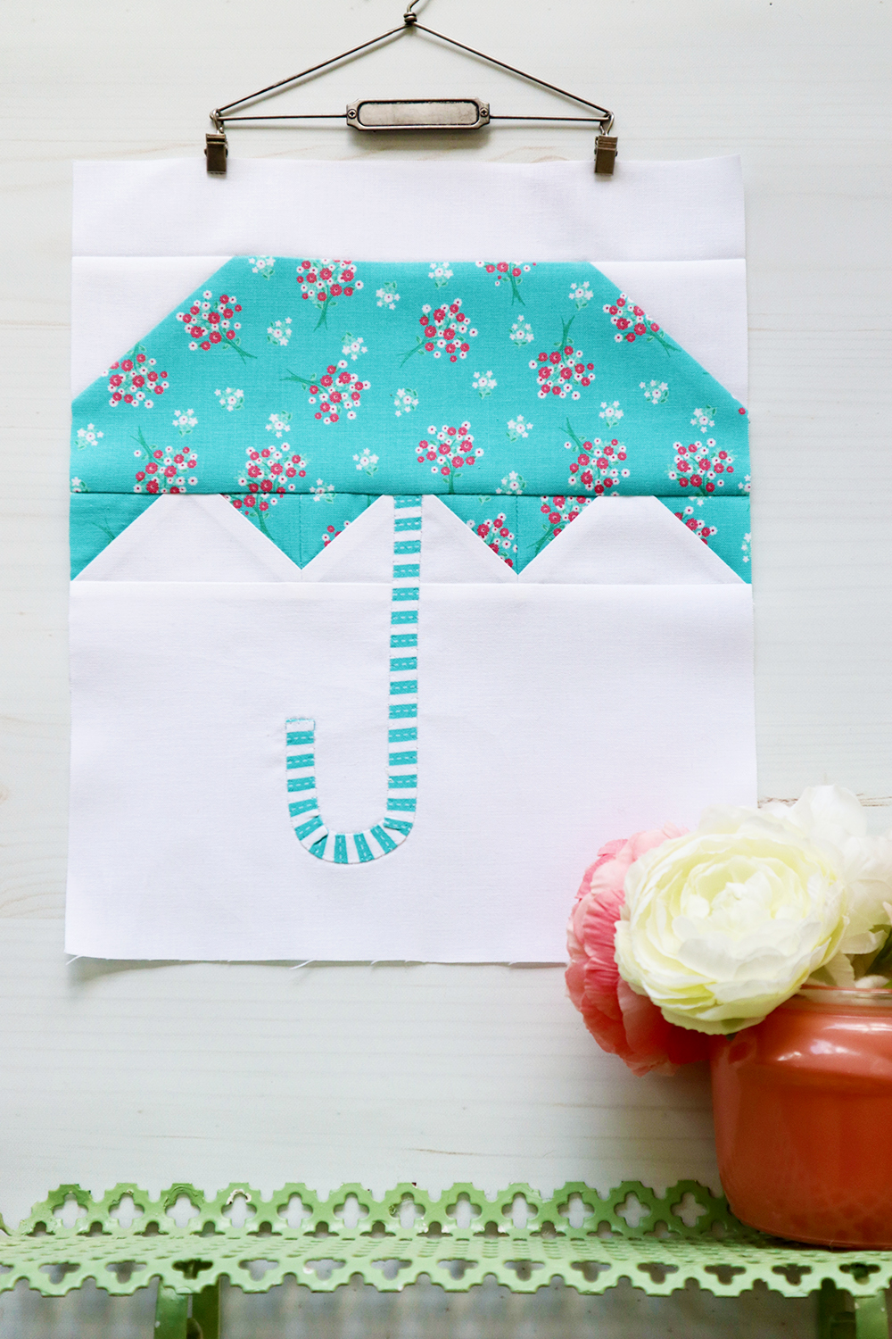 Umbrella Singing in the Rain Quilt Block