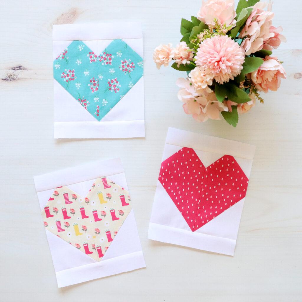 Singing in the Rain Row 7 - Heart Quilt Blocks