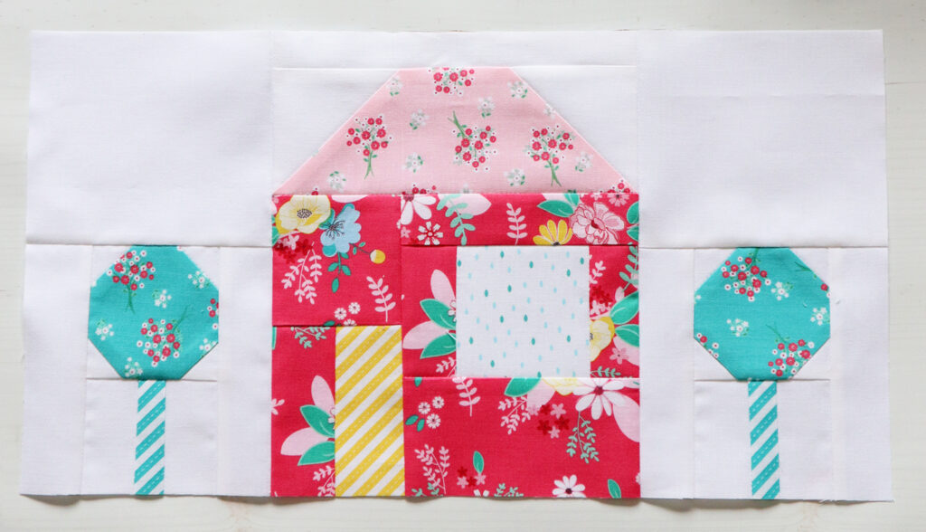 House Quilt Blocks in Singing in the Rain Fabric