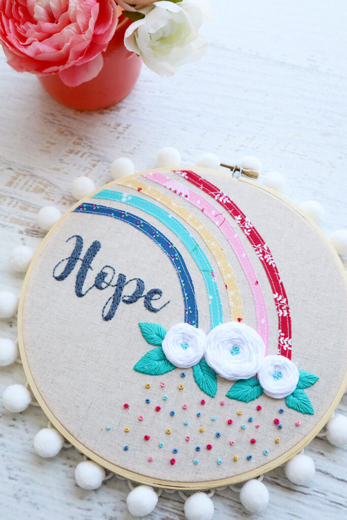 Hope Rainbow Embroidery Hoop Art