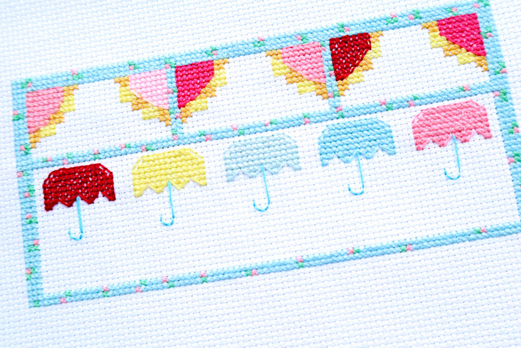 Singing in the Rain Cross Stitch Umbrella Row