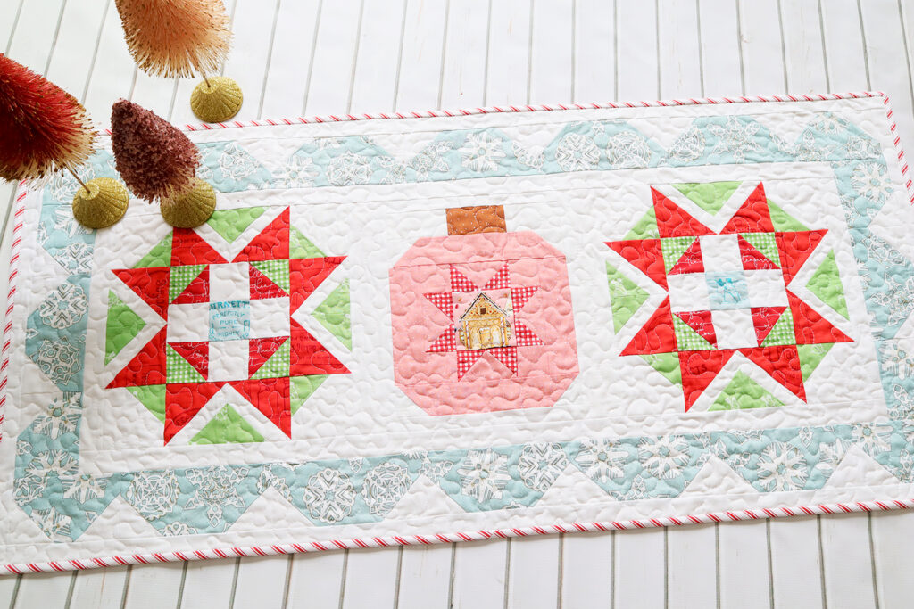 Starry Ornament Christmas Table Runner Free Quilting Pattern